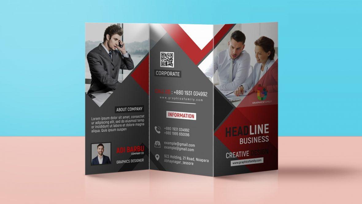 Tri Fold Panel PSD Business Brochure Design