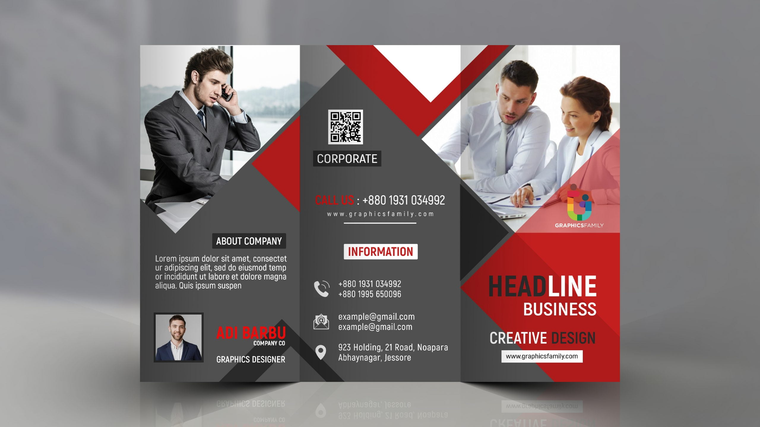 Tri Fold Panel PSD Business Brochure Design Download