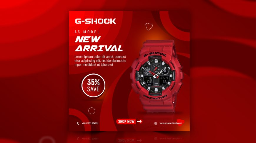 Watches Online Shop Instagram Post Design