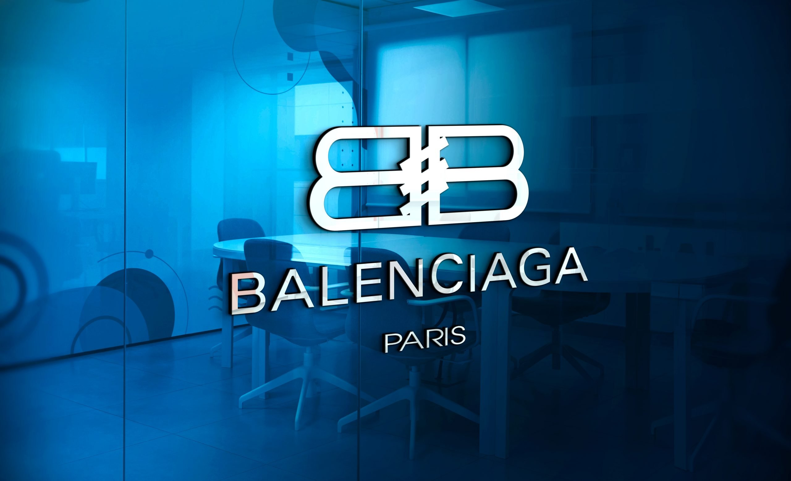 Balenciaga-Logo-3D-Logo-Mockup-on-Office-Glass-Wall