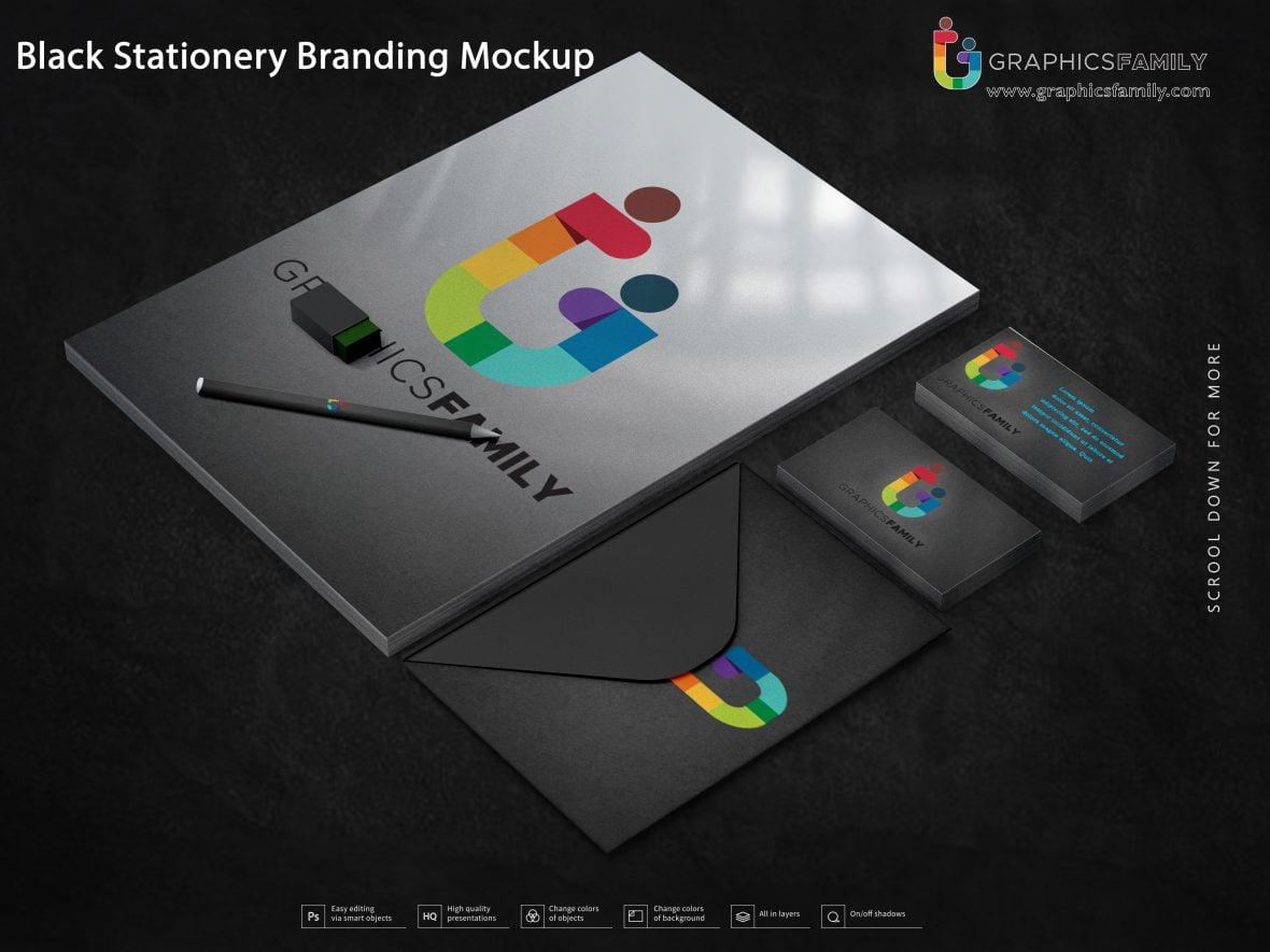 Black Stationery Branding Mockup