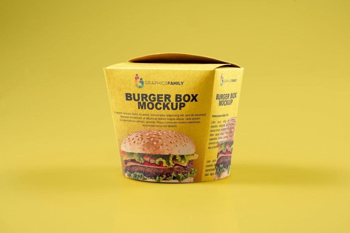 Free Burger Box PSD Mockup by GraphicsFamily