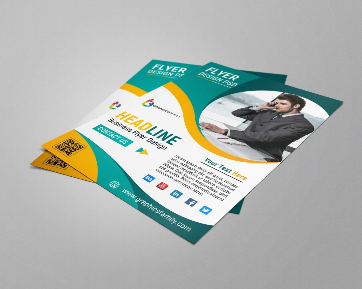 Business Flyer Template Design PSD Download