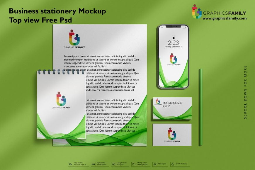 Business stationery mock-up top view Free Psd 2
