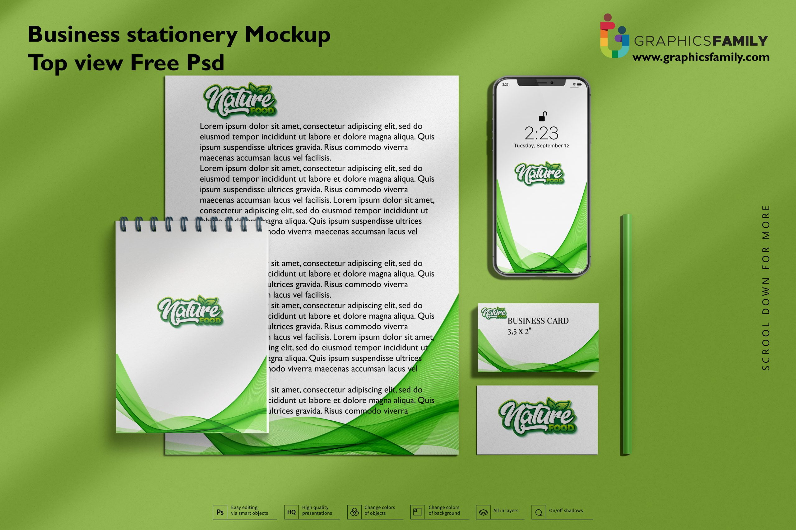 Download Business stationery mock-up top view Free Psd