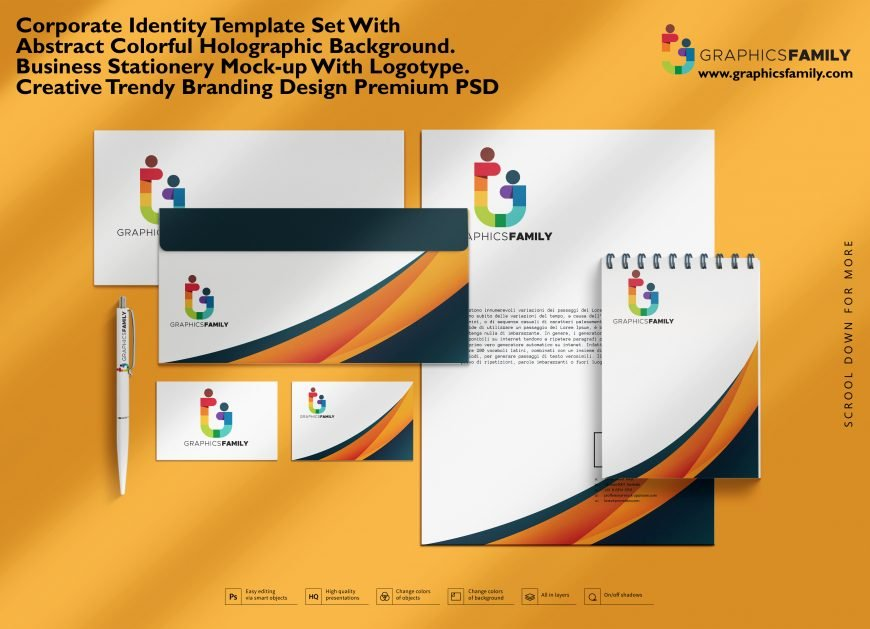 Corporate Identity Stationery Mock-up Set with movable objects
