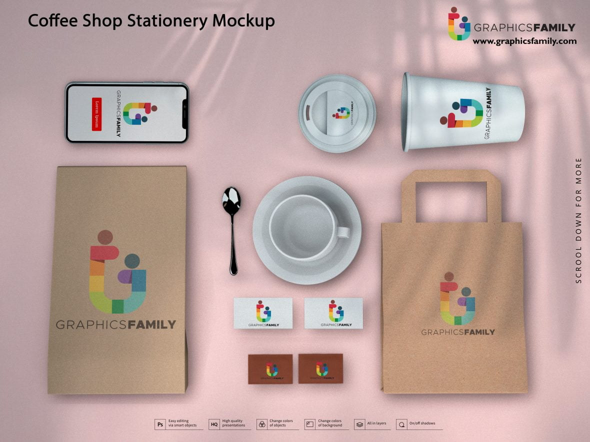 Coffee Shop Stationery Mockup by GraphicsFamily