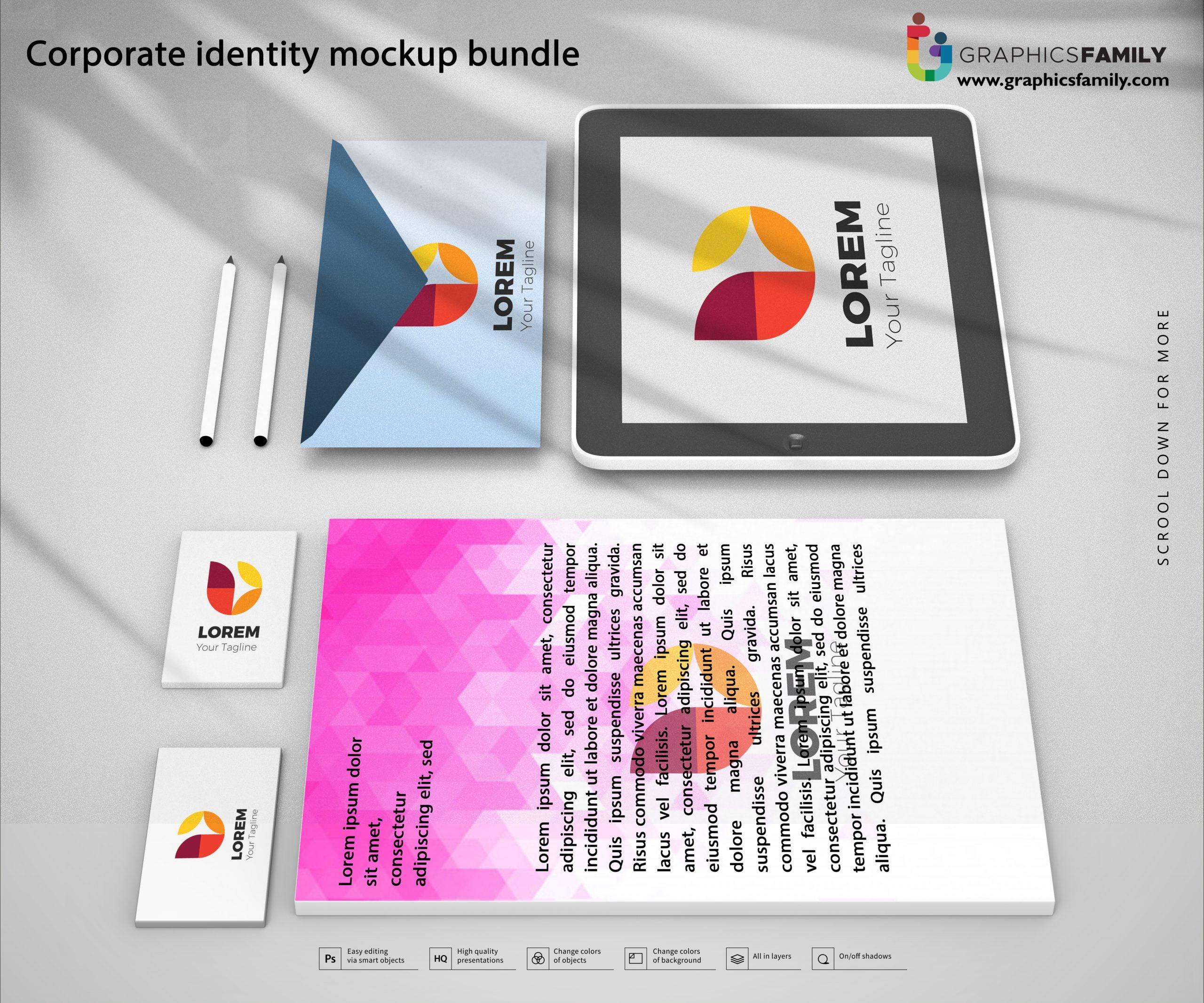 Corporate Identity Mockup Bundle Free PSD