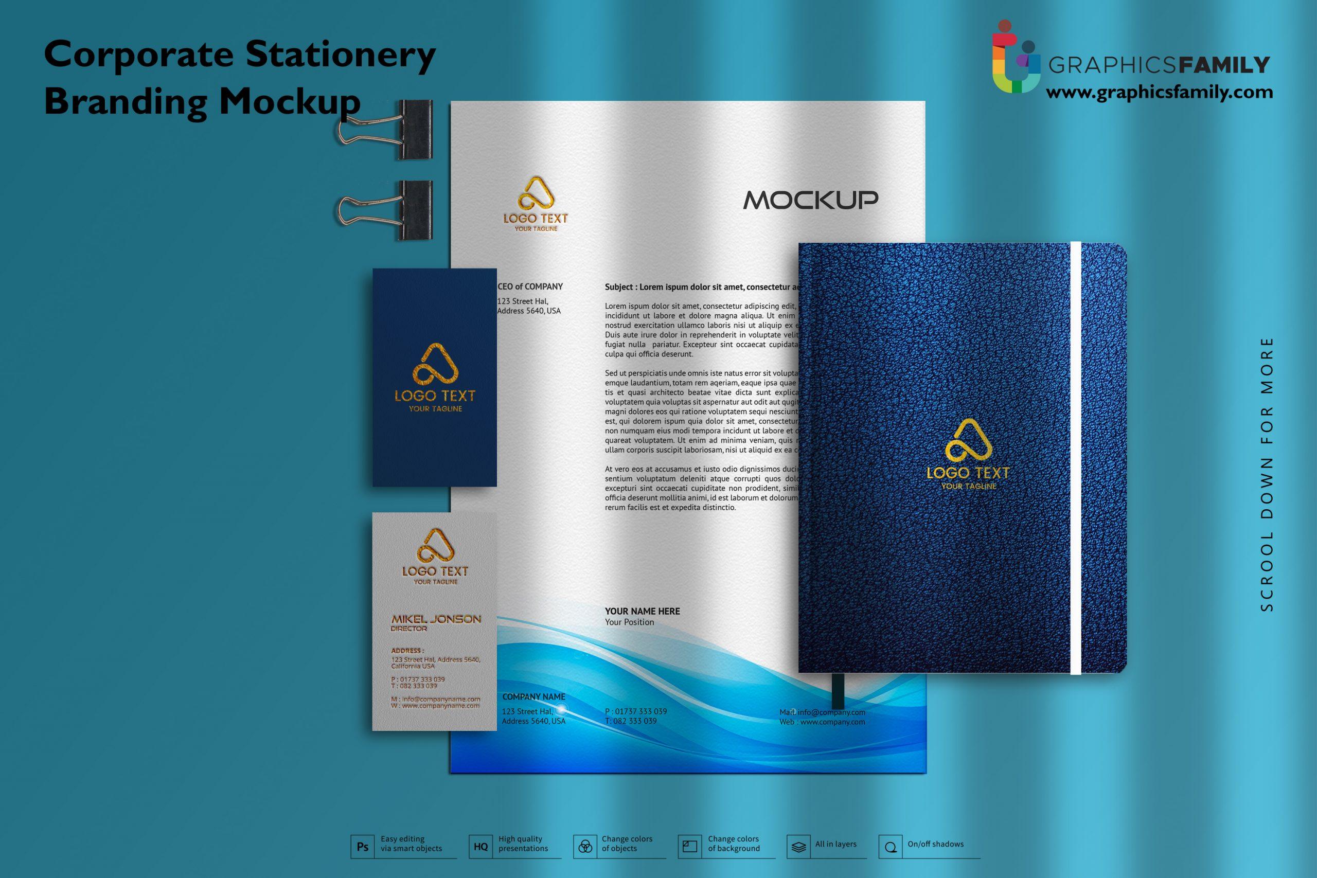 Corporate Stationery Branding Mockup FREE PSD