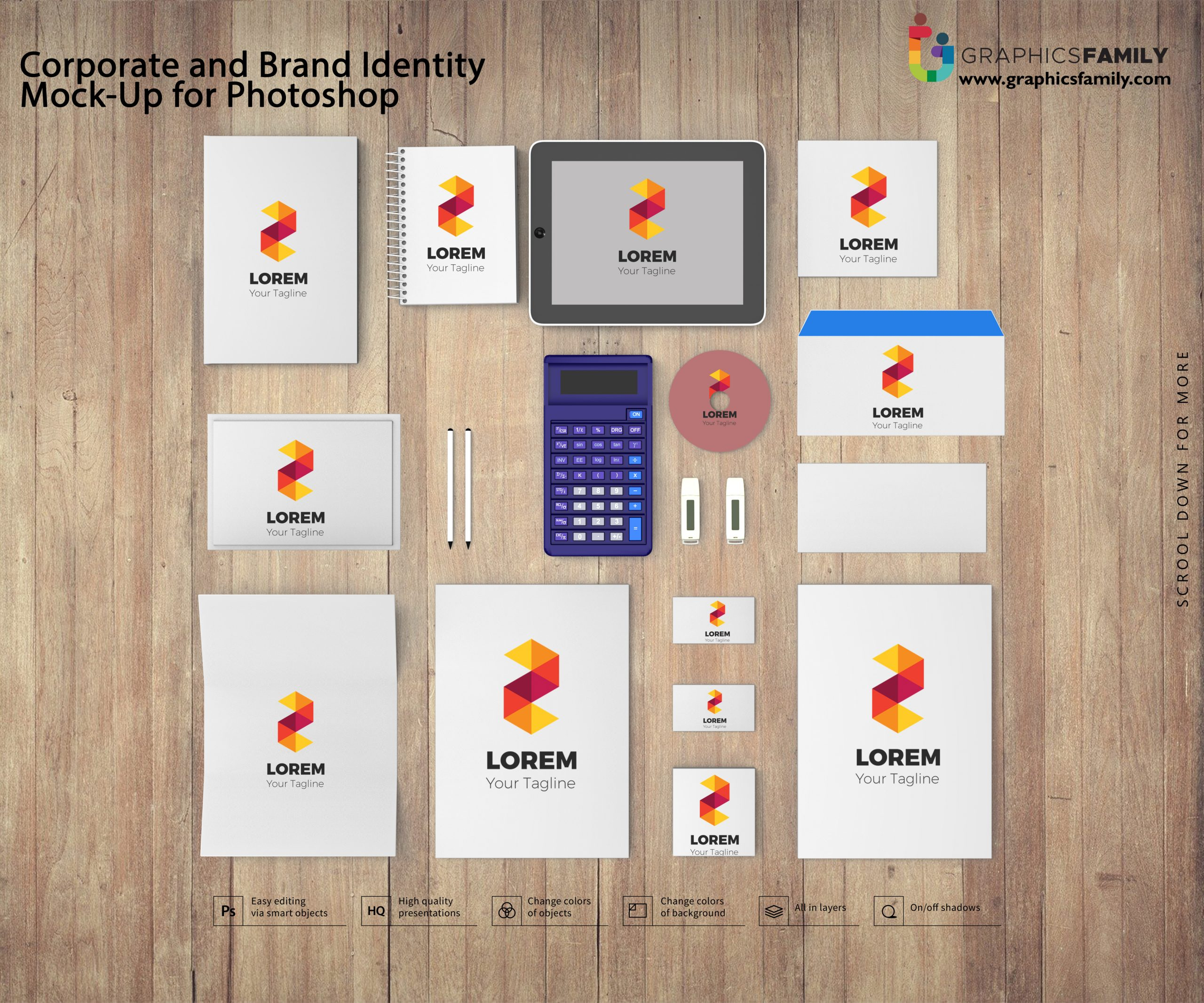 Corporate and Brand Identity Mock-Up for Photoshop Free PSD