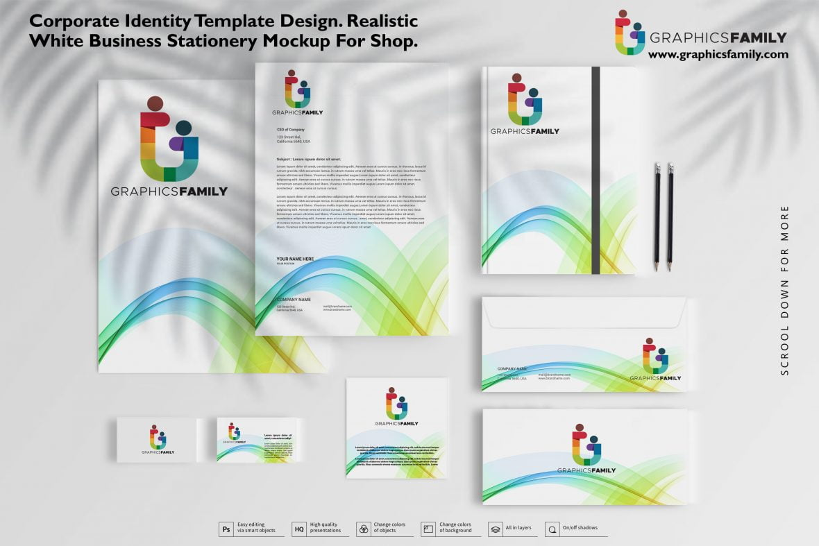Corporate identity template design, Realistic White Business Stationery mockup for shop