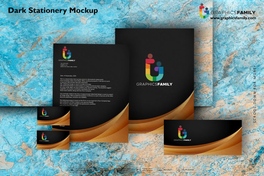 Dark Stationery Mockup Free PSD Download