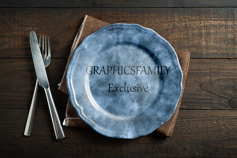 Dinner Plate Mockup by GraphicsFamily