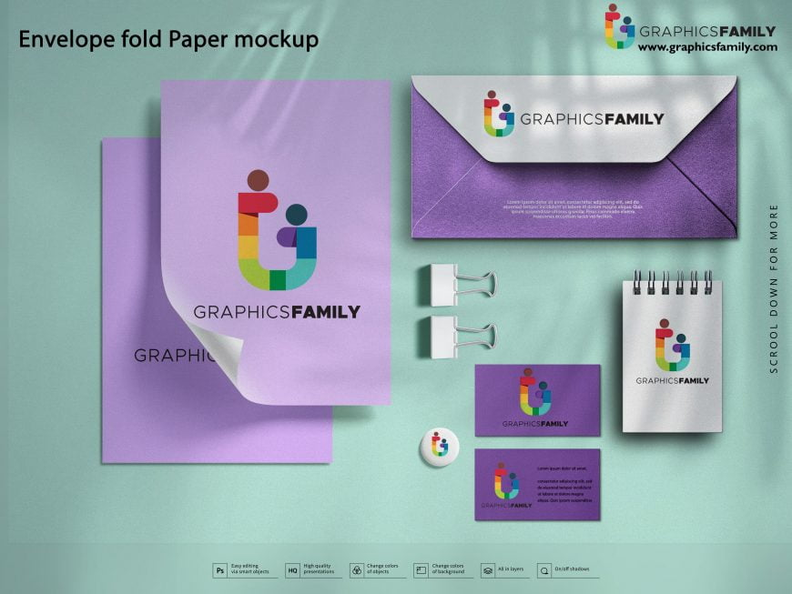 Envelope Fold Paper Mockup