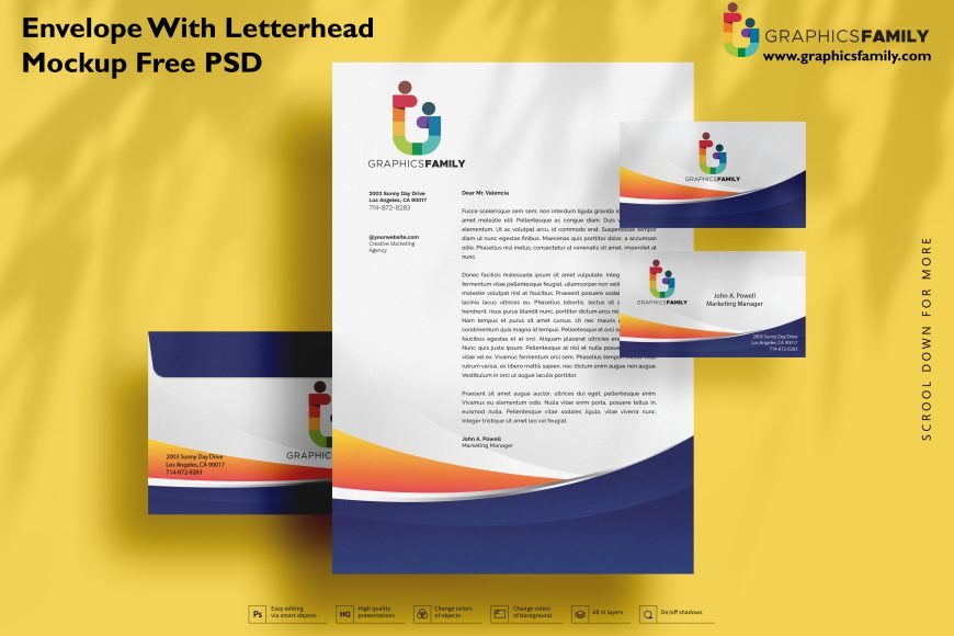Envelope with letterhead mockup Free Psd