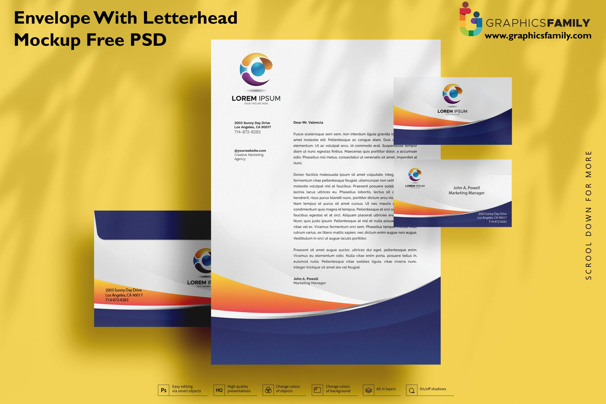 Envelope with letterhead mockup Free Psd Download