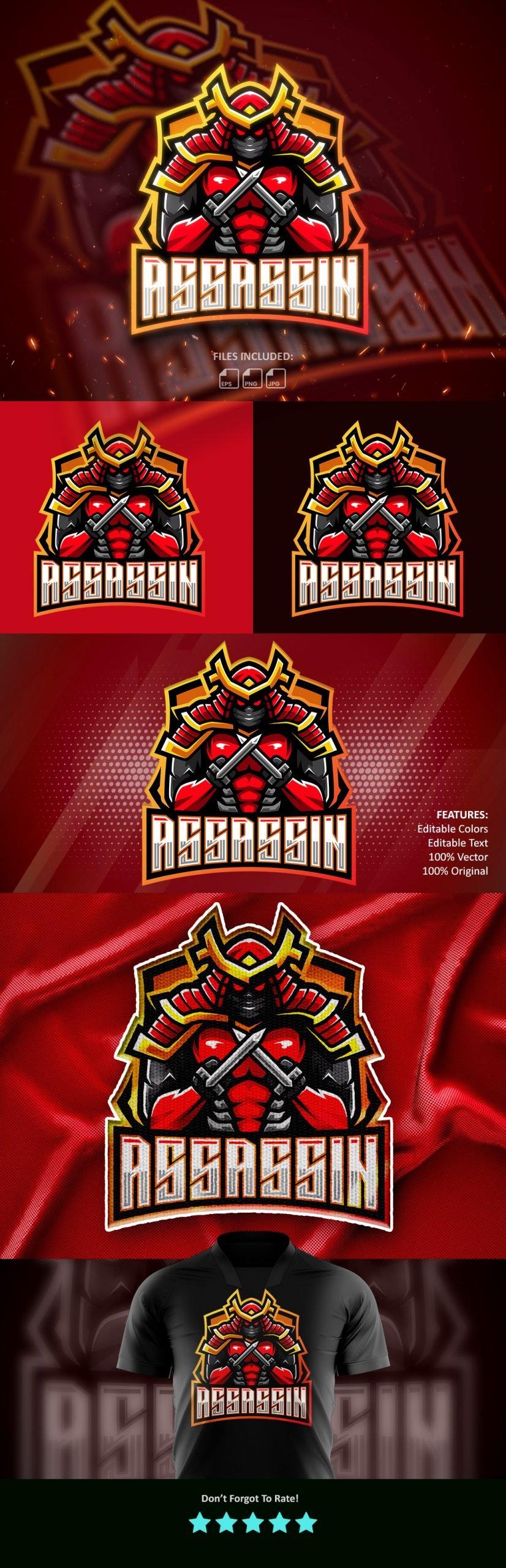 Free-Assassin-Esports-Gaming-Clan-Mascot-Logo-Free-Download