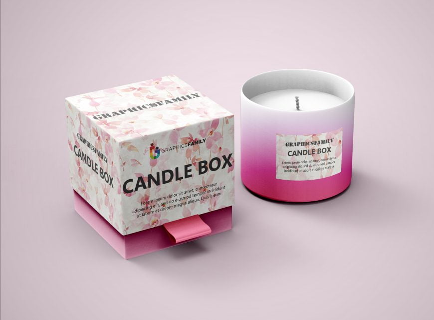 Free Candle Box Mockup by GraphicsFamily
