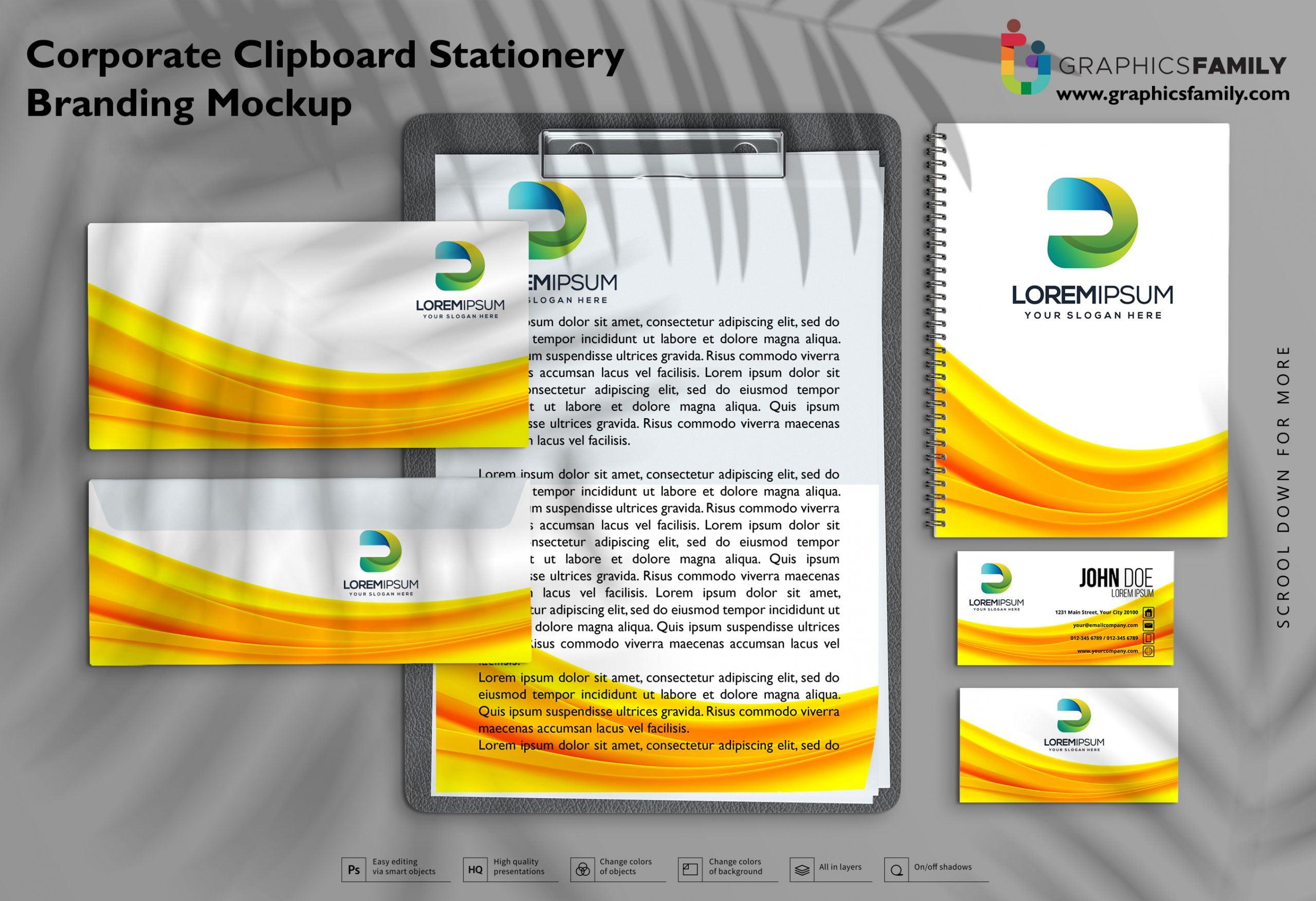 Free Corporate Clipboard Stationery Branding Mockup