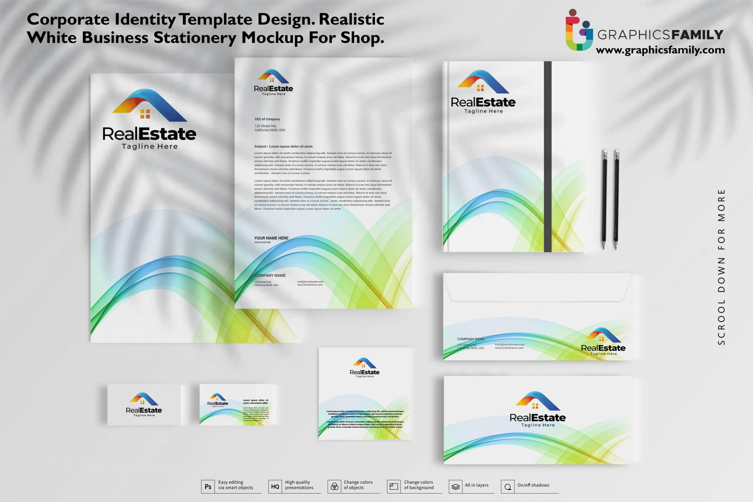 Free Corporate identity template design, Realistic White Business Stationery mockup for shop