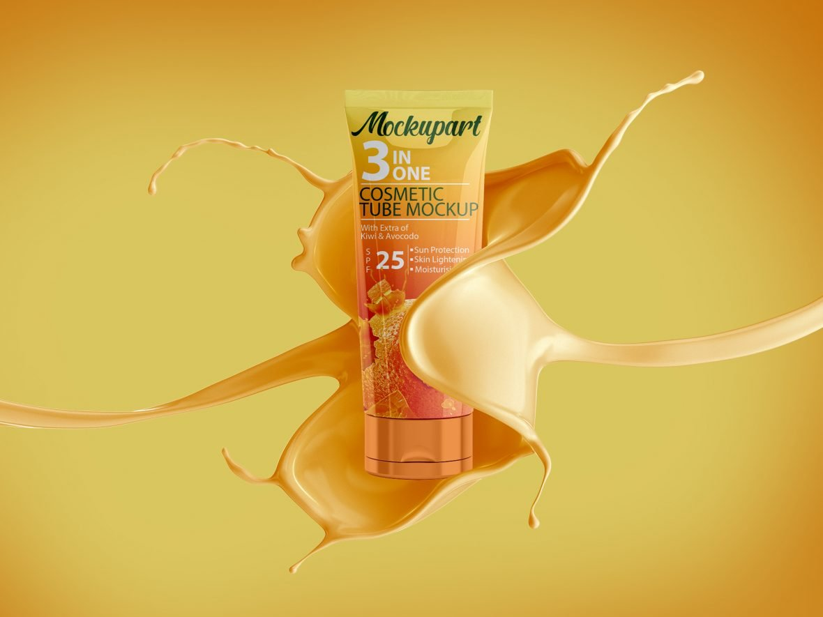 Free Cosmetics Sunscreen Tube Hand Cream Mock-Up by GraphicsFamily