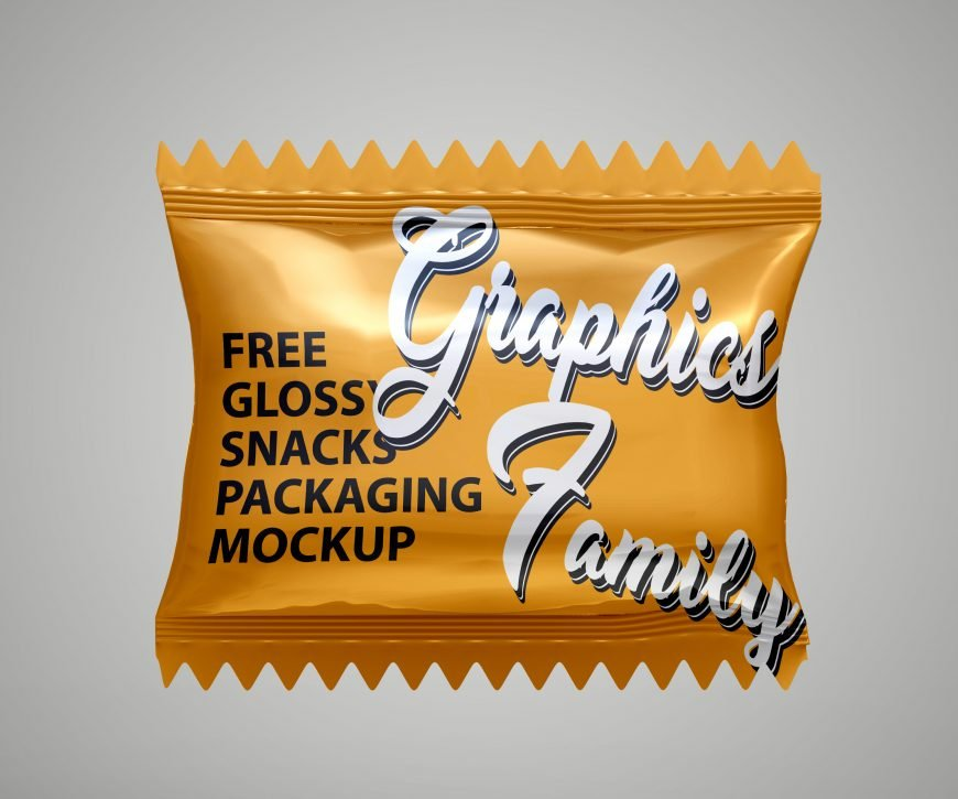 Free Glossy Snacks Packaging Mockup by GraphicsFamily