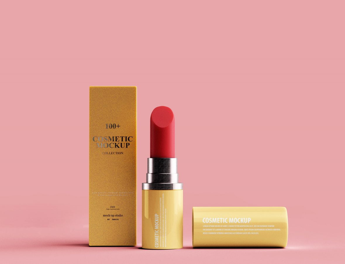 Free Lipstick PSD Mockup by GraphicsFamily