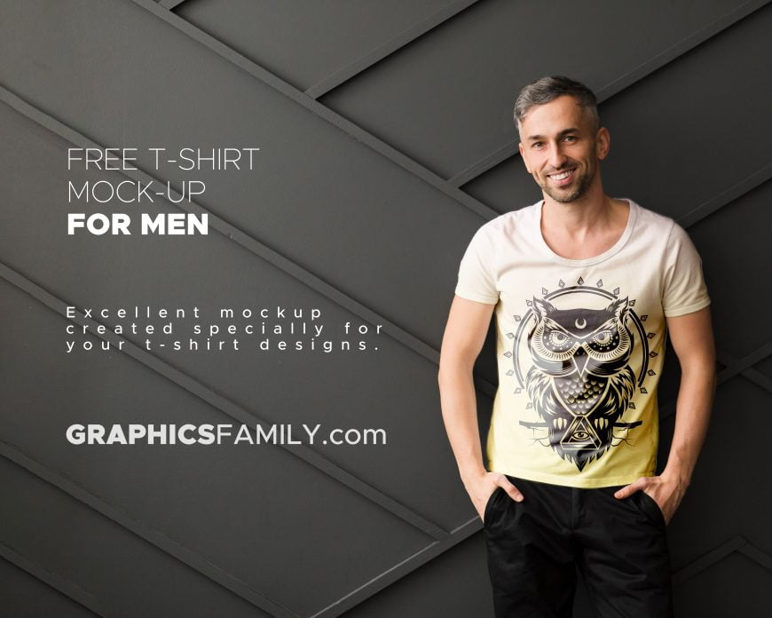 Free PSD T-Shirt Mock-up for Men by GraphicsFamily