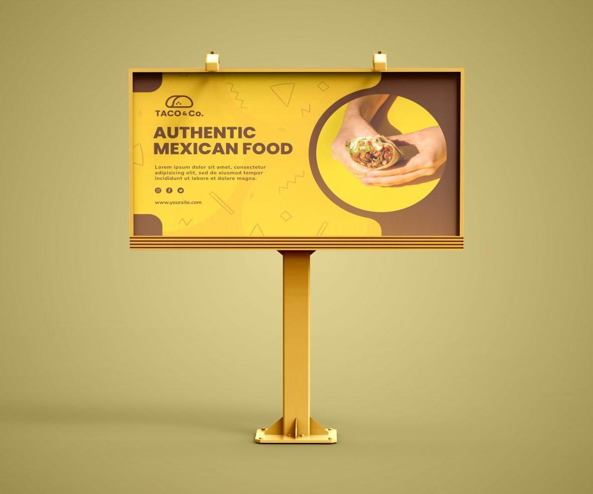 Free Photoshop Rectangular Billboard Mockup by GraphicsFamily