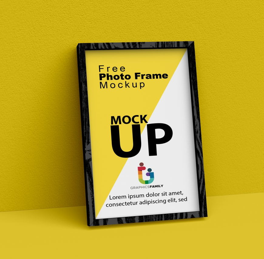 Free Photoshop Wooden Frame MockUp by GraphicsFamily