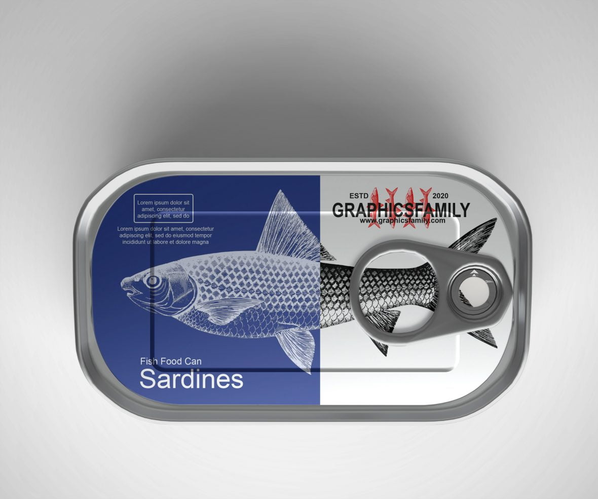 Free Sardines Can Packaging Mockup by GraphicsFamily
