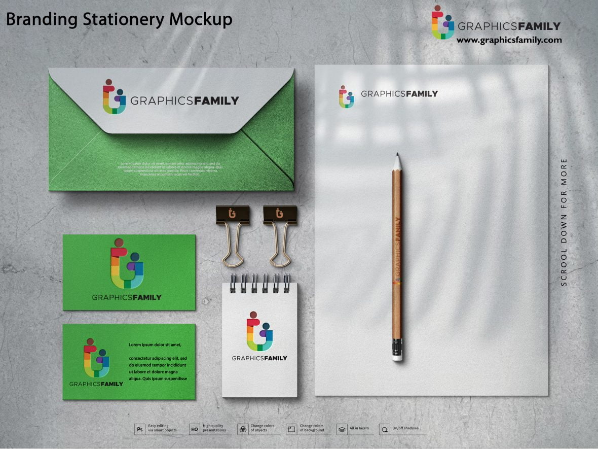 Free Simple Branding Stationery Mockup PSD
