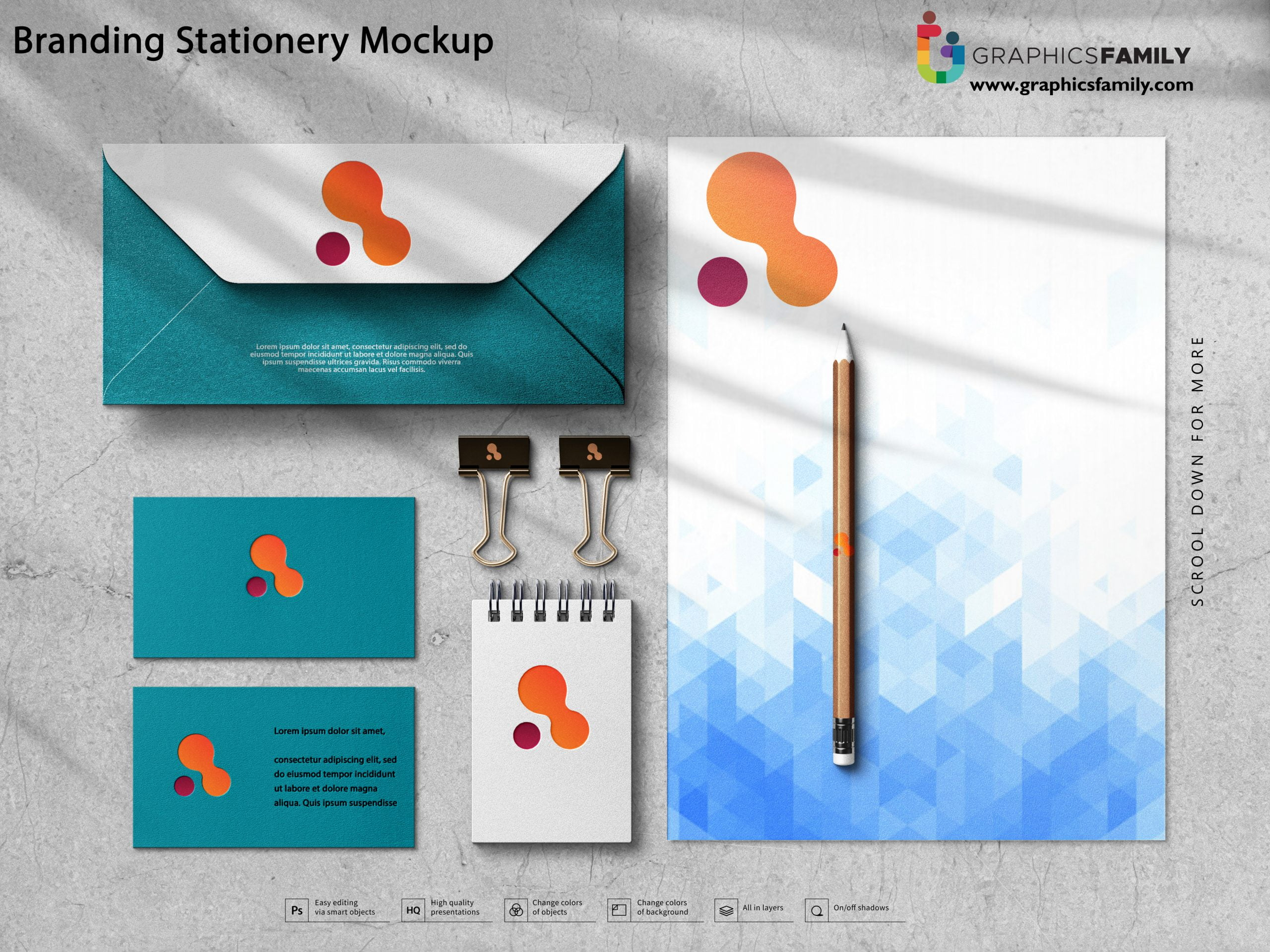 Free Simple Branding Stationery Mockup PSD Download