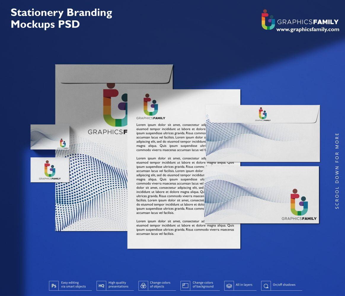 Free Stationery Branding Mockups PSD