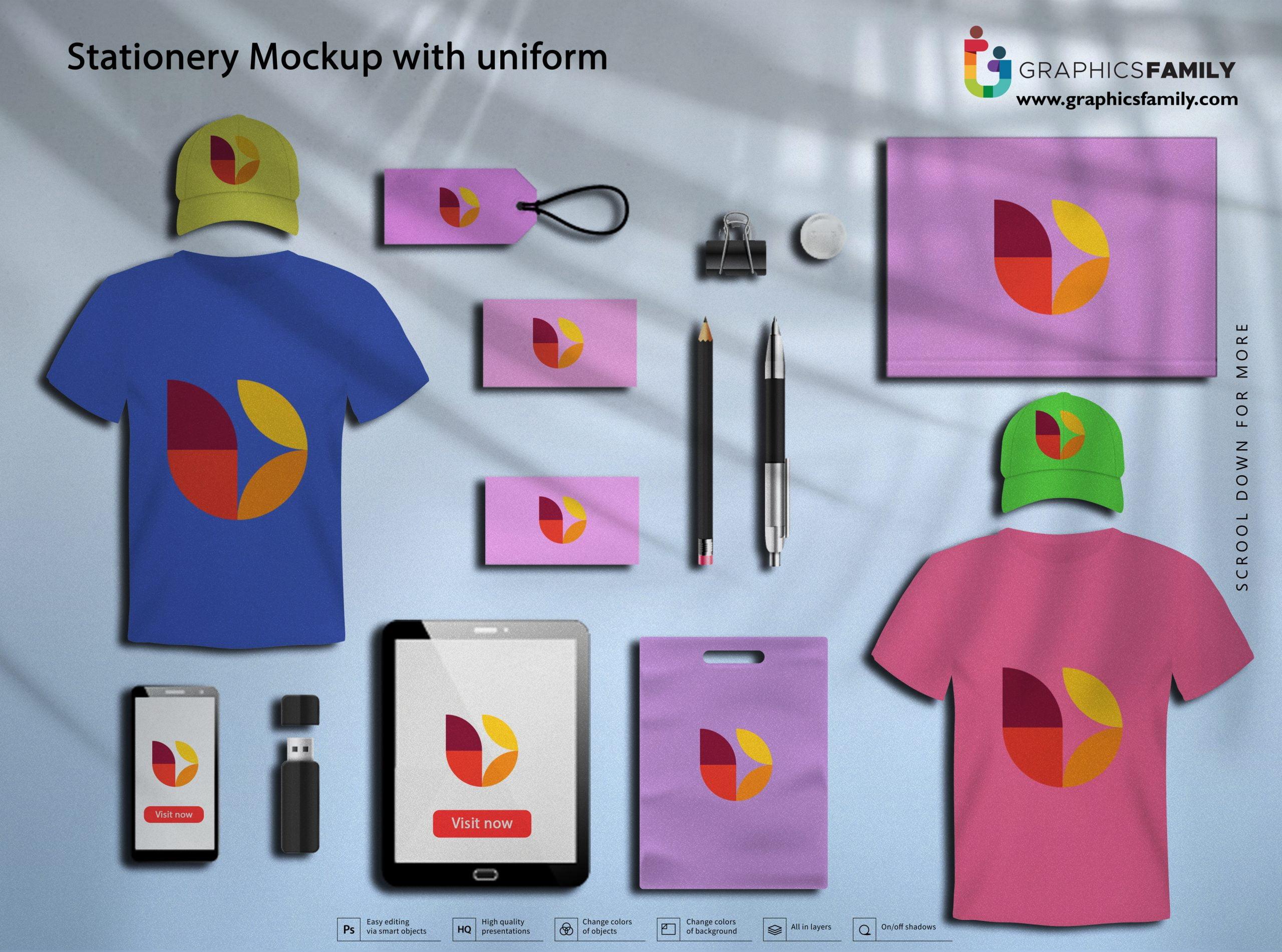 Free Stationery Mockup with Uniform