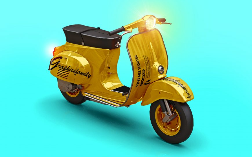 Free Vintage Scooter PSD Mockup by GraphicsFamily