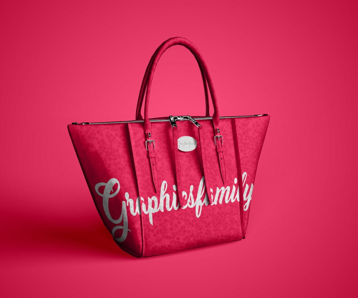 Free Woman Fashion Bag Mockup by GraphicsFamily