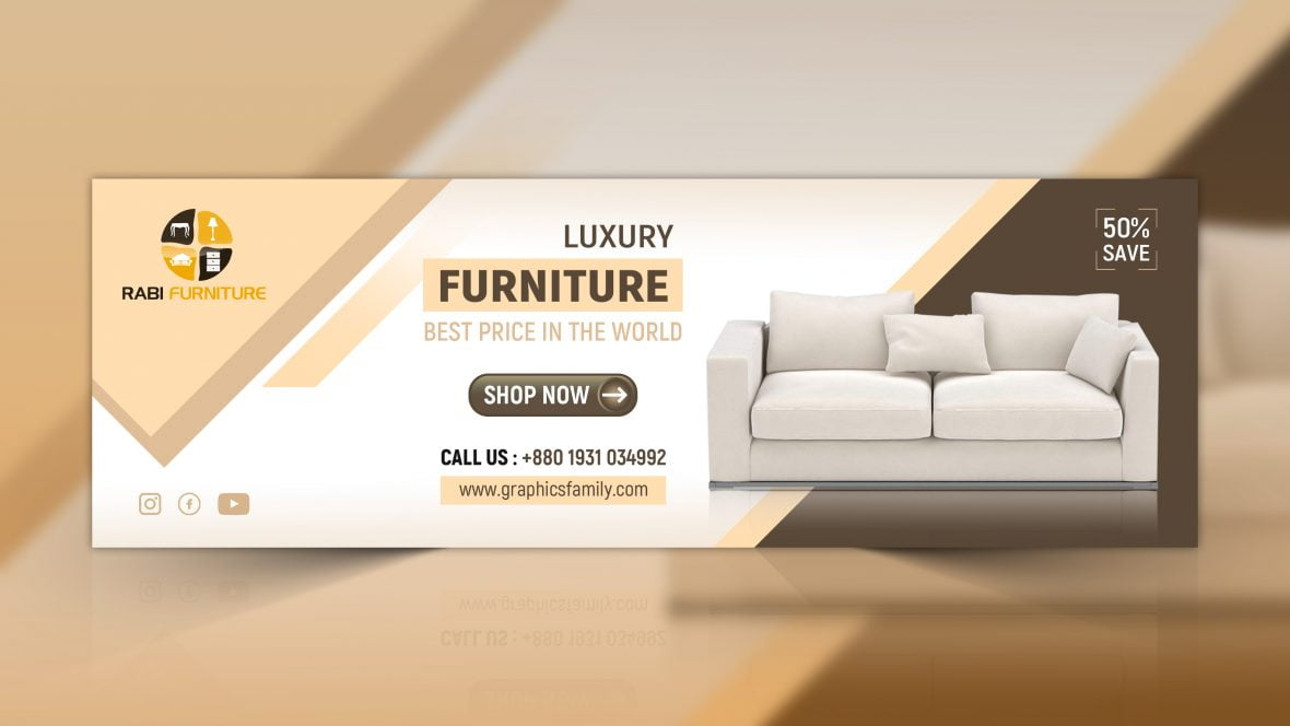 Furniture Web Banner Design PSD - GraphicsFamily