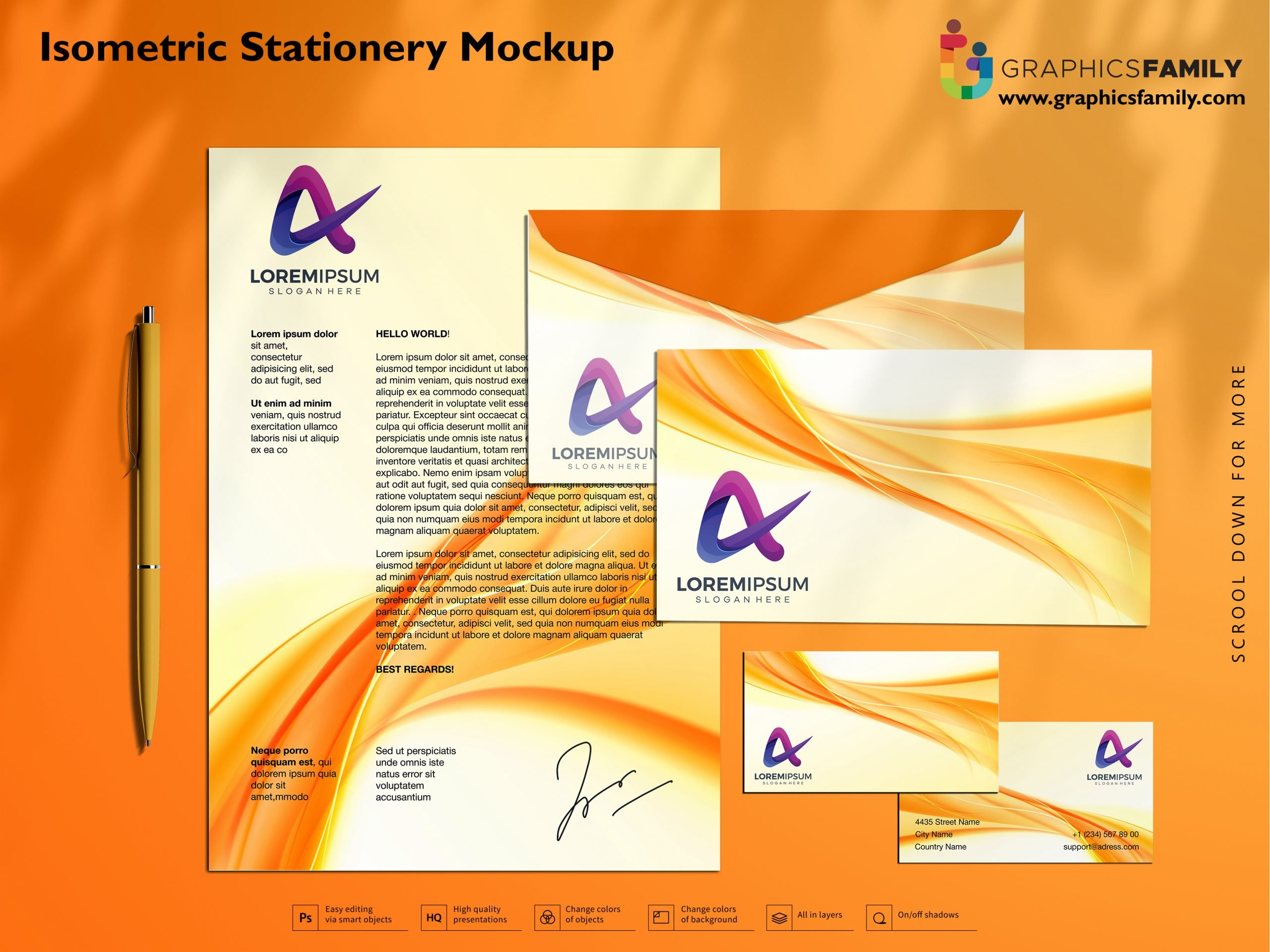 Isometric Stationery Mockup Free PSD Download