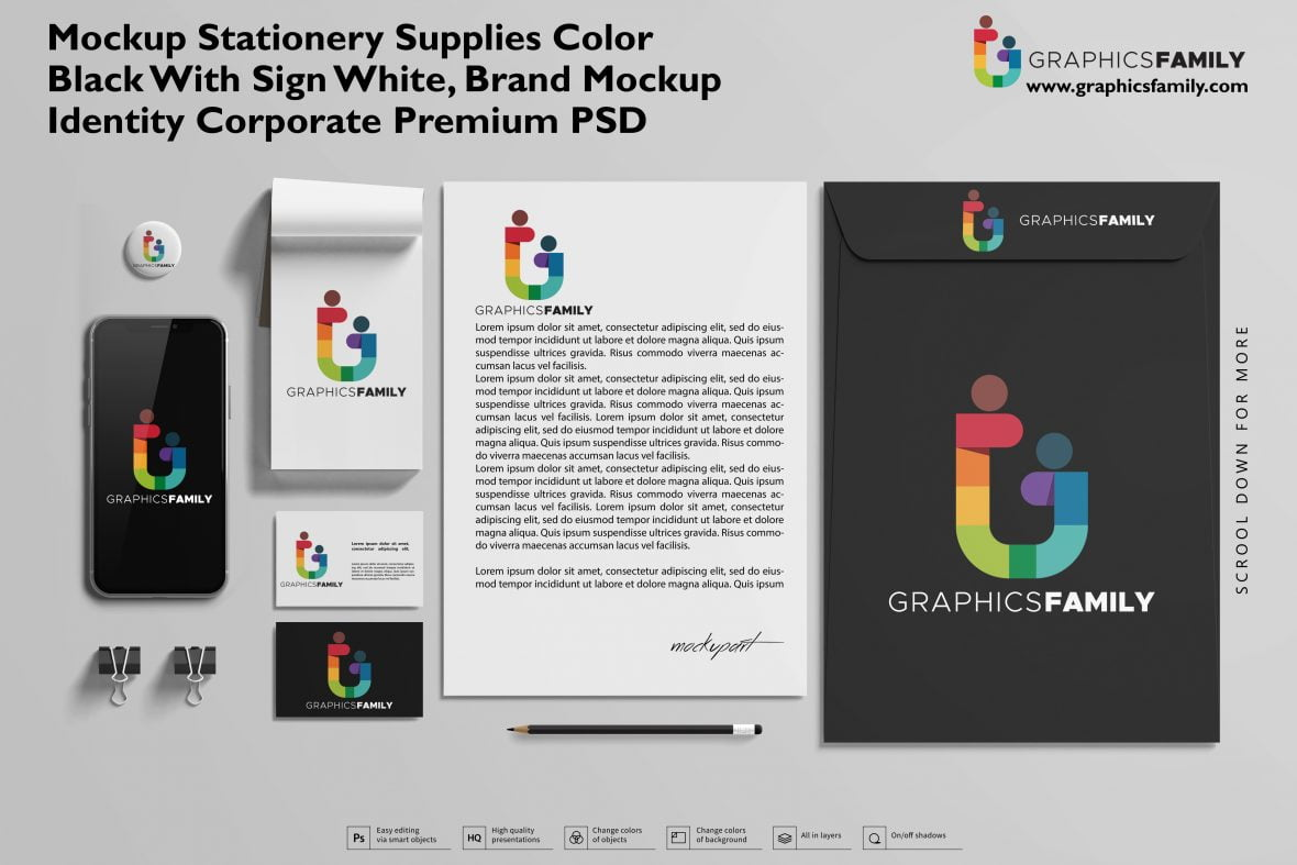 Mockup stationery supplies color Black with sign white, brand mockup identity corporate Premium PSD