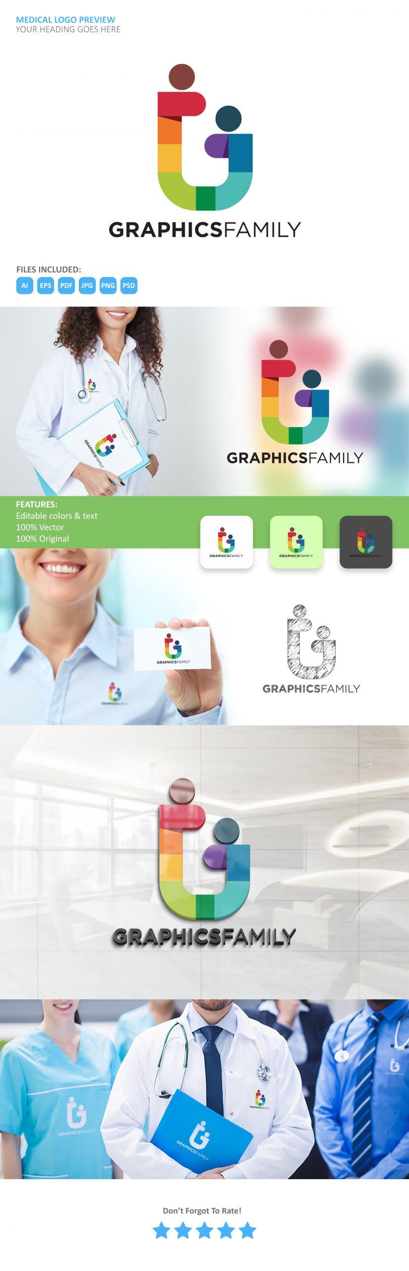 Medical Logo Thumbnail Generator GraphicsFamily