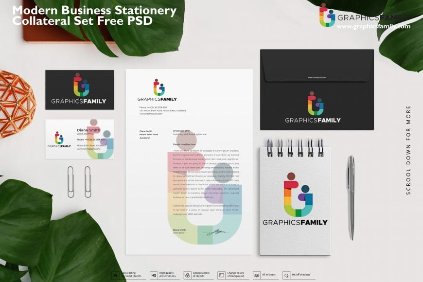 Modern business stationery collateral set Free PSD