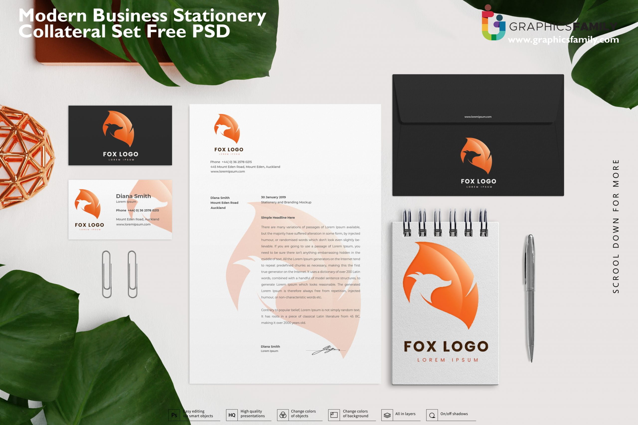Modern business stationery collateral set Free PSD Download