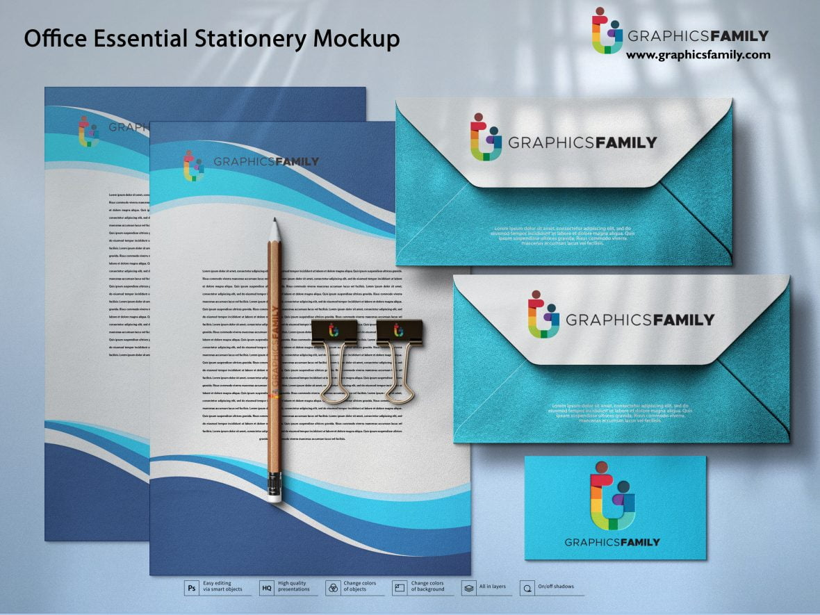 Office Essential Stationery Mockup
