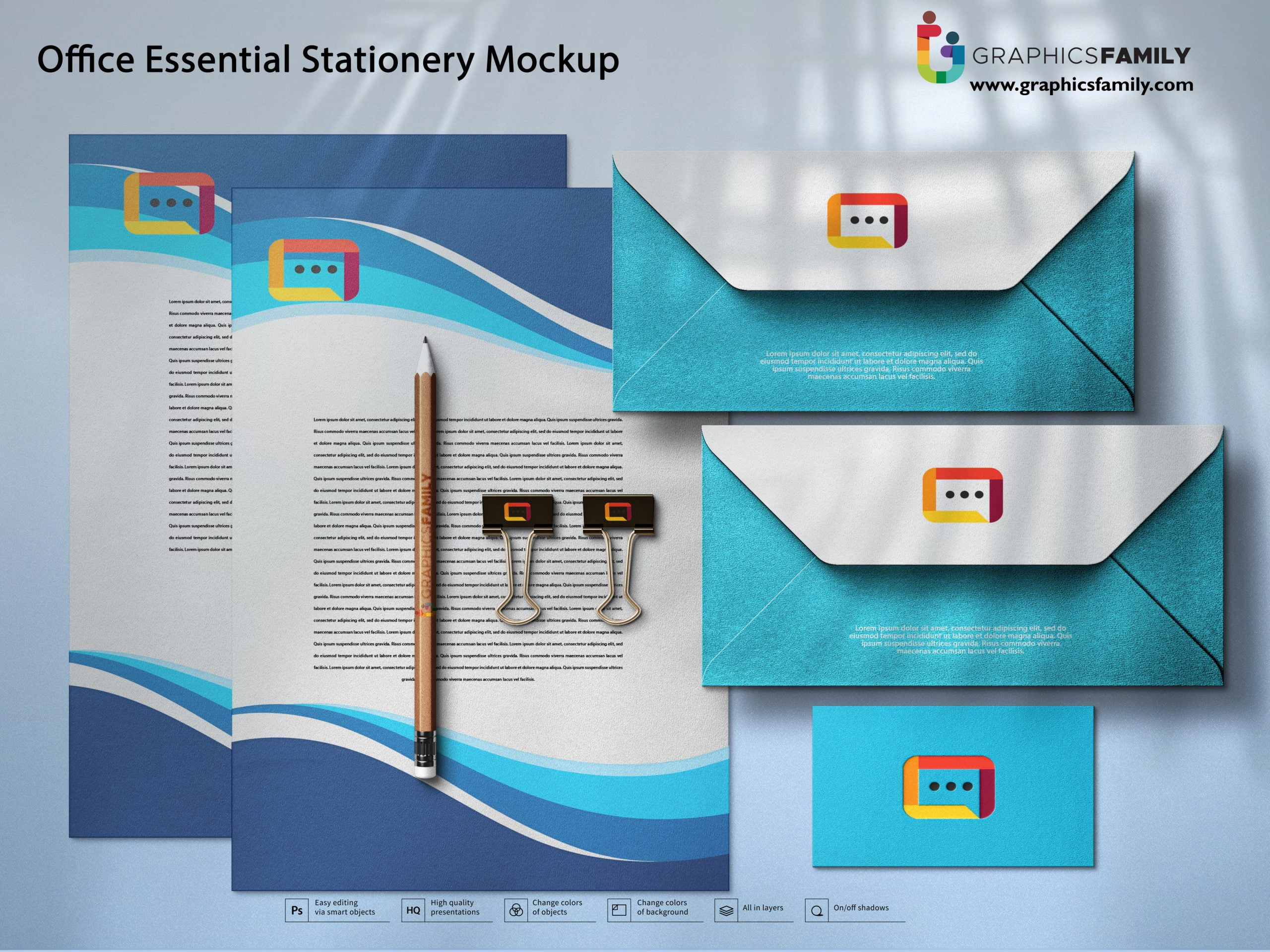Office Essential Stationery Mockup Free PSD Download