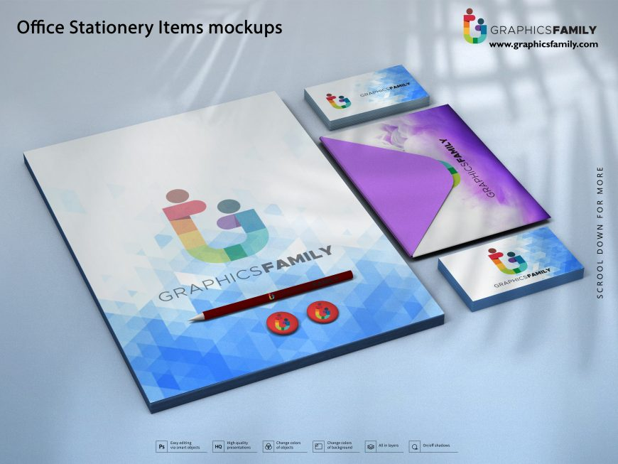 Office Stationery Items Mockups