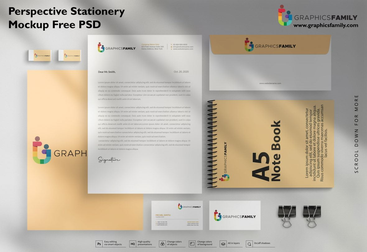 Perspective Stationery Mockup Free Psd Download