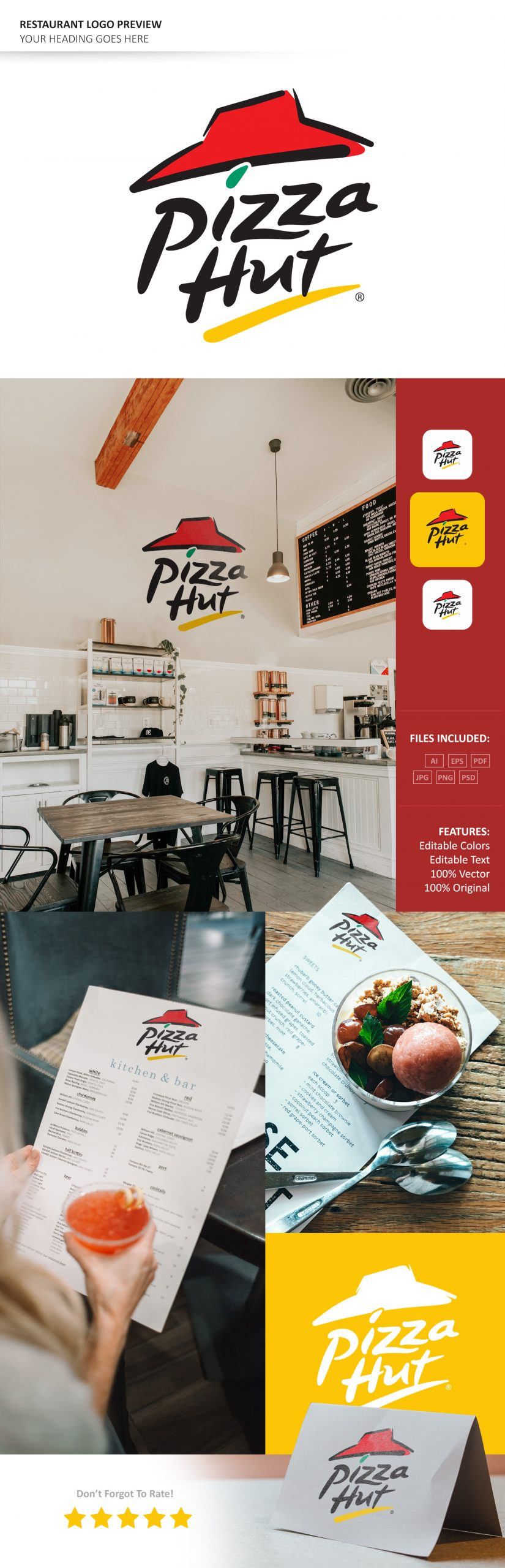 Restaurant Logo Mockup Template by GraphicsFamily