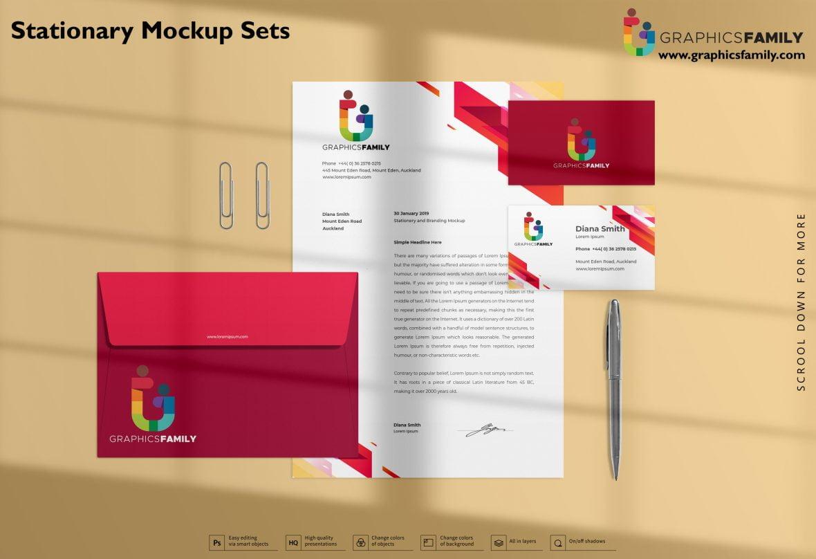 Stationery Mockup Sets Free PSD