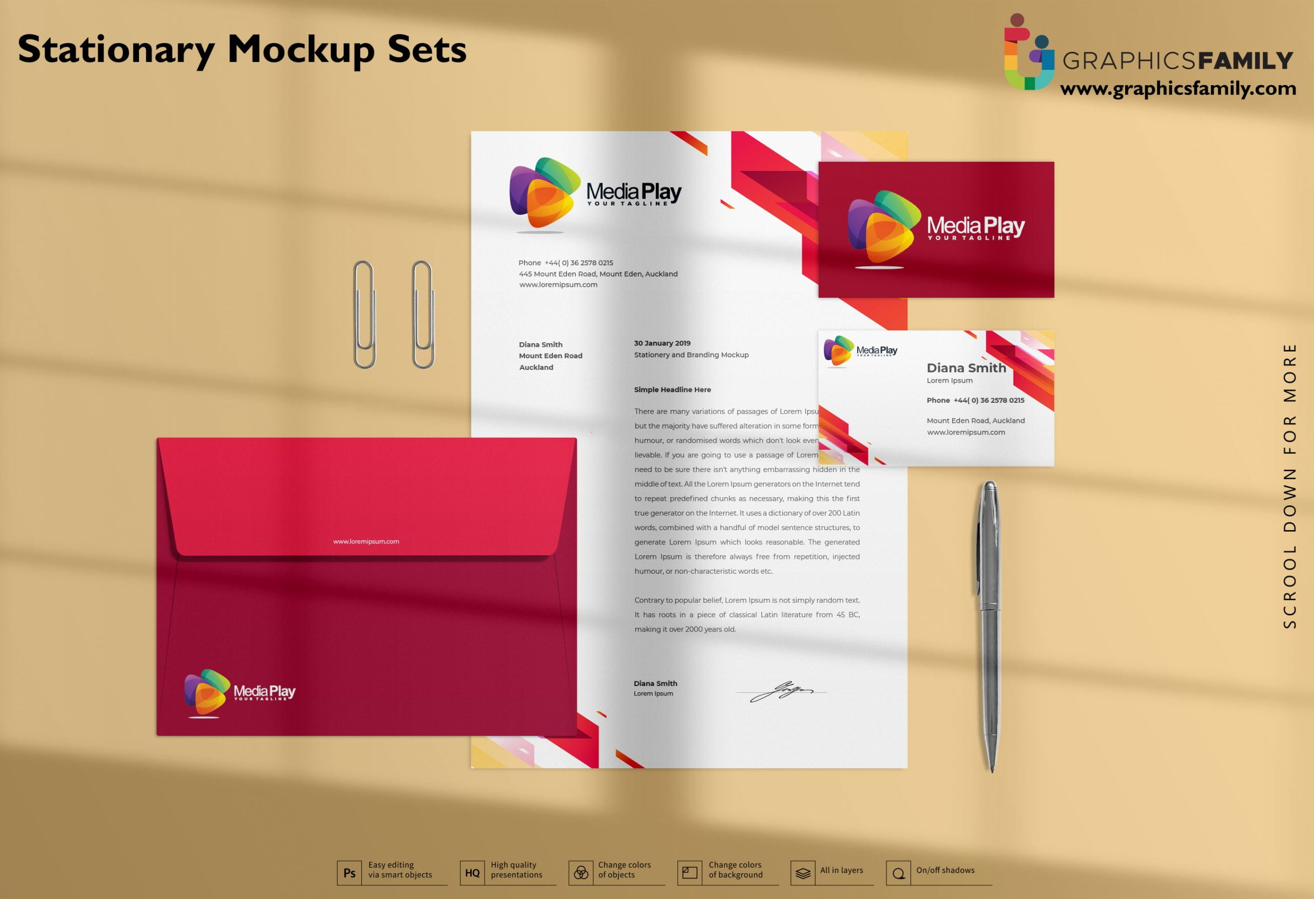 Stationery Mockup Sets Free PSD Download